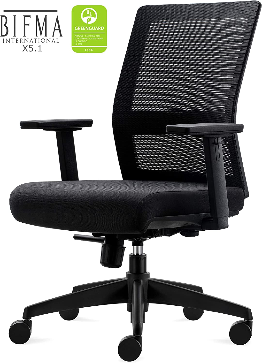 CHAIRLIN Big and Tall 350LB Home Office Task Chair, Ergonomic Executive Desk Rolling Swivel Chair Adjustable Armrests Mesh High Back Computer Chair with Lumbar Support for Women, Men