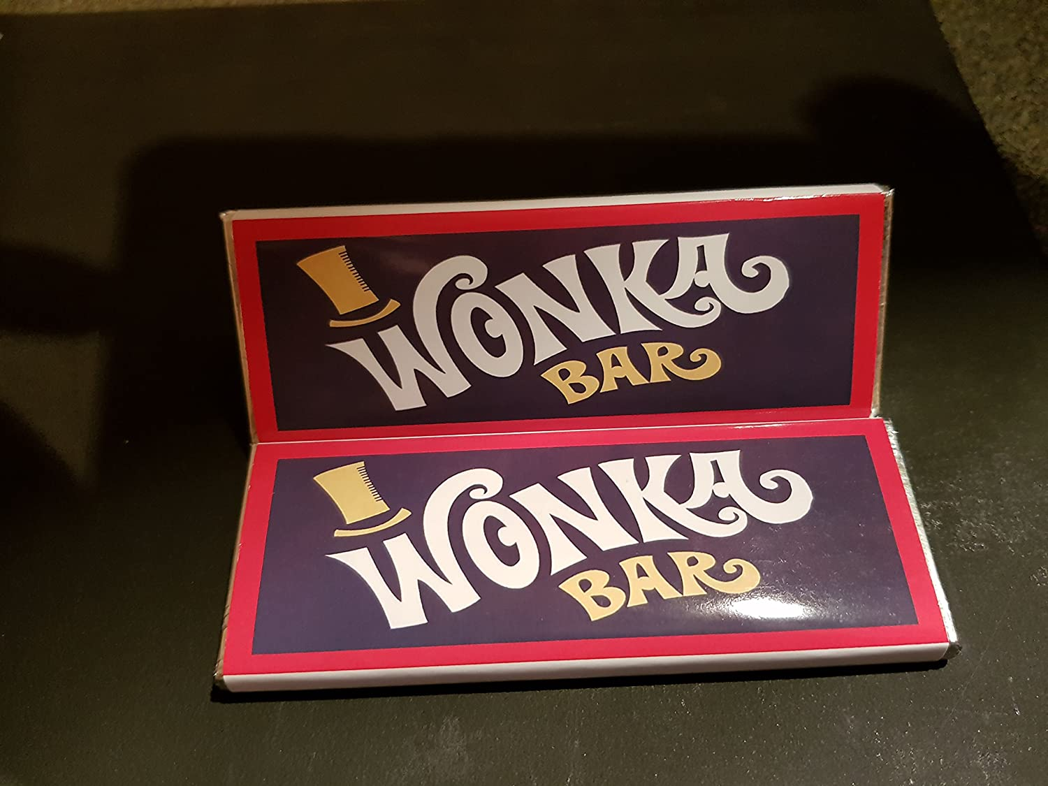 Personalised Just For You 10x Wonka Chocolate Bar Replica With Golden Ticket 25gram Bar With Our Designed Hand Made Wrapper