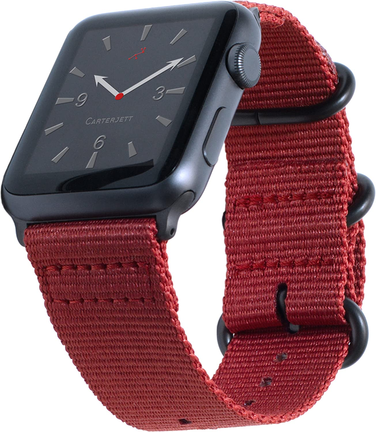 Carterjett Compatible with Apple Watch Band Red 42mm 44mm Woven Nylon Replacement iWatch Band Canvas Strap Military Style Steel Clasp Adapters for New Series 5 Series 4 3 2 1 (42 44 S/M/L Red)