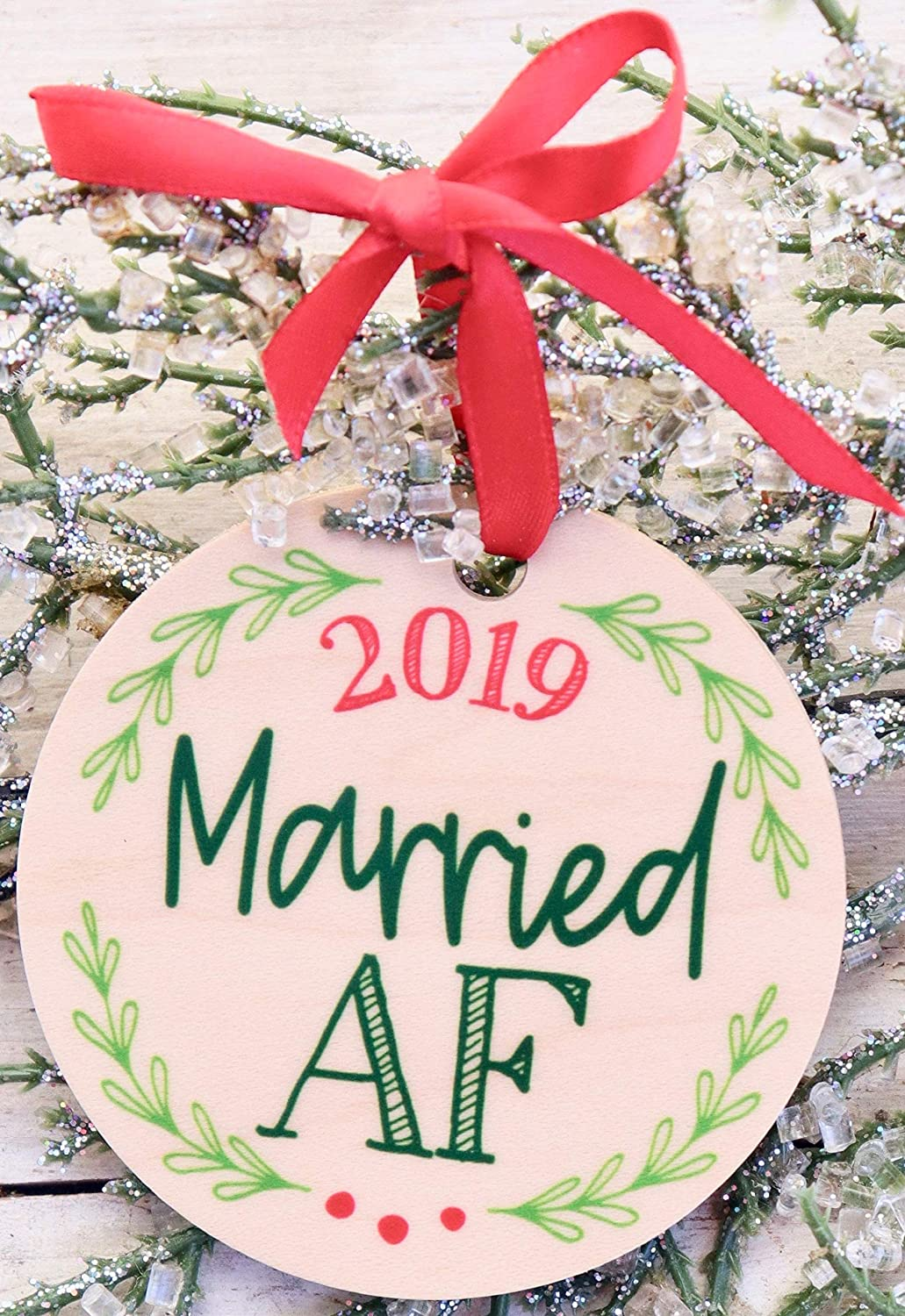 Married AF Christmas Ornament 2019 Funny Gift For Newlywed Couples