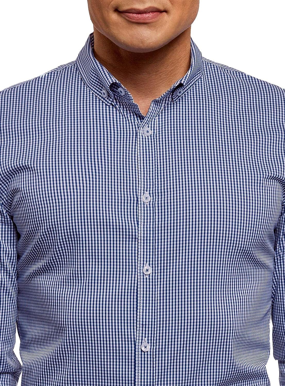 oodji Ultra Hombre Camisa Extra Slim a Cuadros Peque/ños