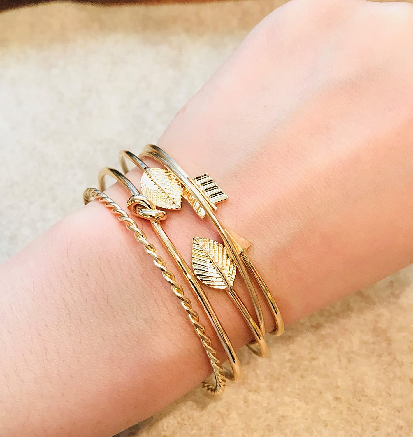 IS ISAACSONG Yellow Gold Plated Inspirational Love Knot Stackable Open Cuff Bangle Bracelet Set for Women and Girls