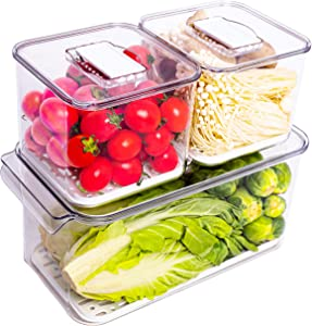 Wavelux Produce Saver Containers for Refrigerator, Food Fruit Vegetables storage, 3 Piece Stackable Fridge Freezer Organizer, Fresh Keeper Drawer Bin Basket with Vented Lids & Removable Drain Tray