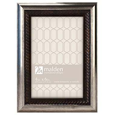Malden International Designs Classic Mouldings Brentwood Bronze Wave Inner with Outer Picture Frame, 4x6, Silver