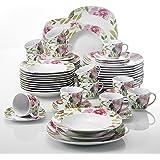 Veweet ASHLEY 60pcs Service de Table Porcelaine 12pcs Assiette Plate, Assiette à Dessert, Assiette Creuse, Tasse avec Soucoupes pour 12 Personnes Vaisselles Céramique Motif Fleur