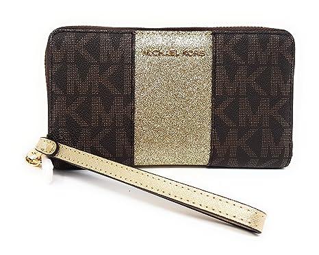 fcec9b8d77a3 Michael Kors Giftables Jet Set MF Zip Phone Case Wristlet (Brown Center  Stripe Pale Gold
