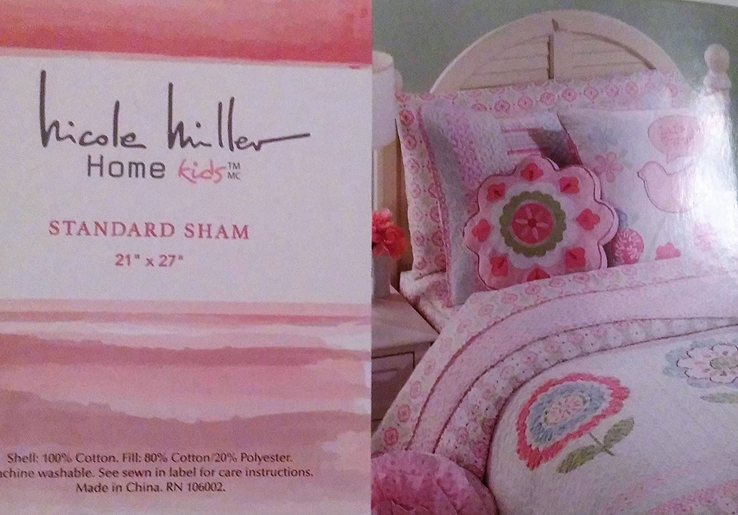 Nicole Miller Home Kids Standard Sham Pink, White, Blue and Green