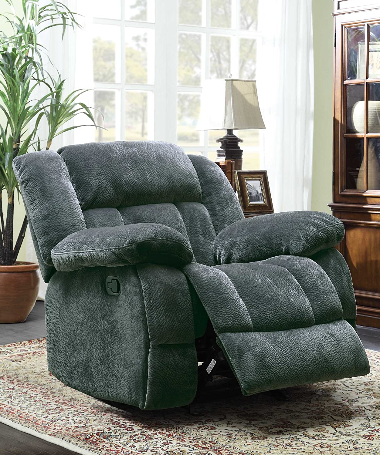 Amazon.com Homelegance 9636CC-1 Laurelton Textured Plush Microfiber Glider Recliner Chair Gray Kitchen u0026 Dining & Amazon.com: Homelegance 9636CC-1 Laurelton Textured Plush ... islam-shia.org