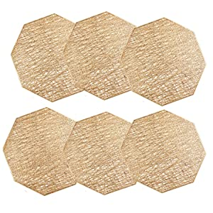 U'Artlines Octagonal Placemats Hollow Out Mats Vinyl Non-Slip Heat Insulation Kitchen Table Mats (Gold, Placemats 6pcs)