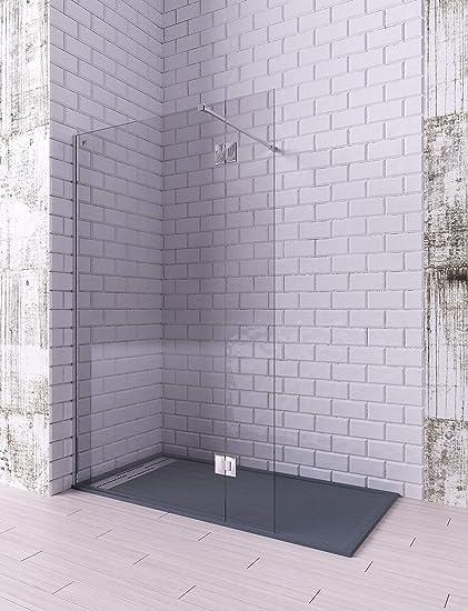 Modelo LIBO - Mampara de ducha de 1 hoja fija + 1 abatible - Cristal 6 mm con ANTICAL INCLUIDO: Amazon.es: Bricolaje y herramientas