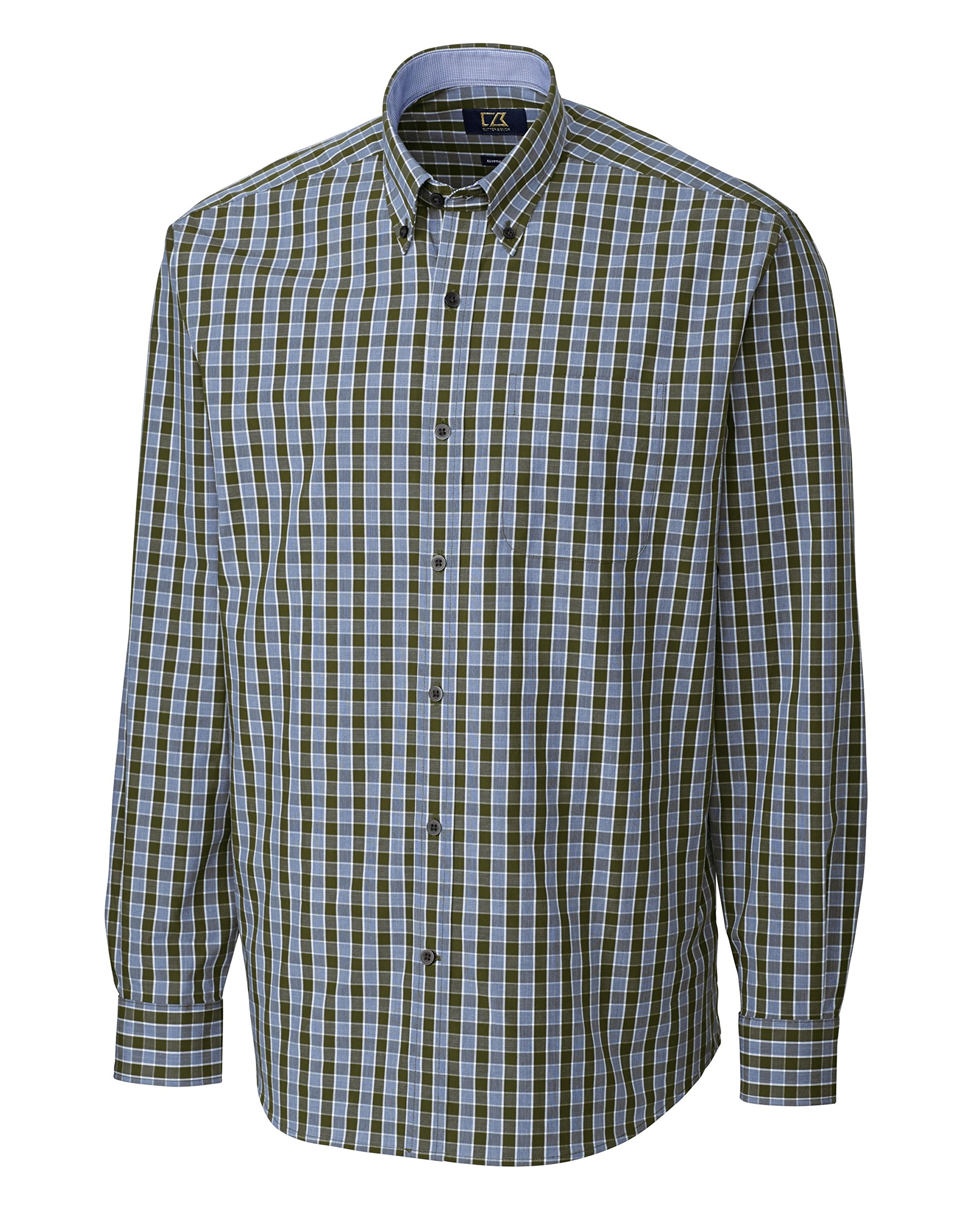 Cutter & Buck Men's Big-Tall Long Sleeve Shields Check Shirt, Myrtle, 5X/Big