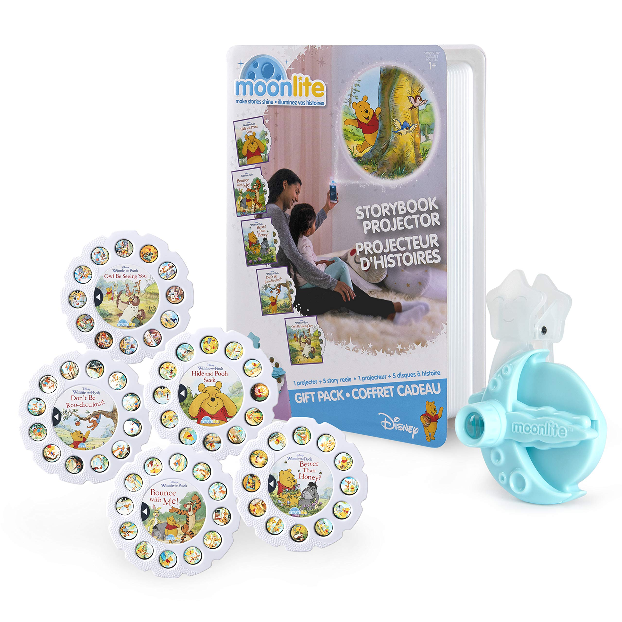 Moonlite, Winnie The Pooh Gift Pack with Storybook Projector for Smartphones and 5 Story Reels