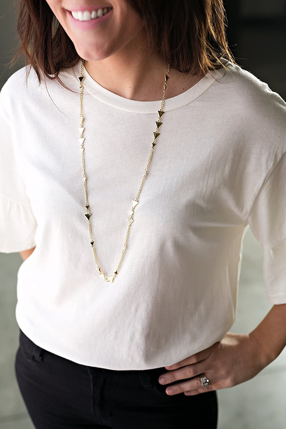 Michelle Womens Fashion Lanyard Silver Triangle Necklace with Swivel Clasp Gold