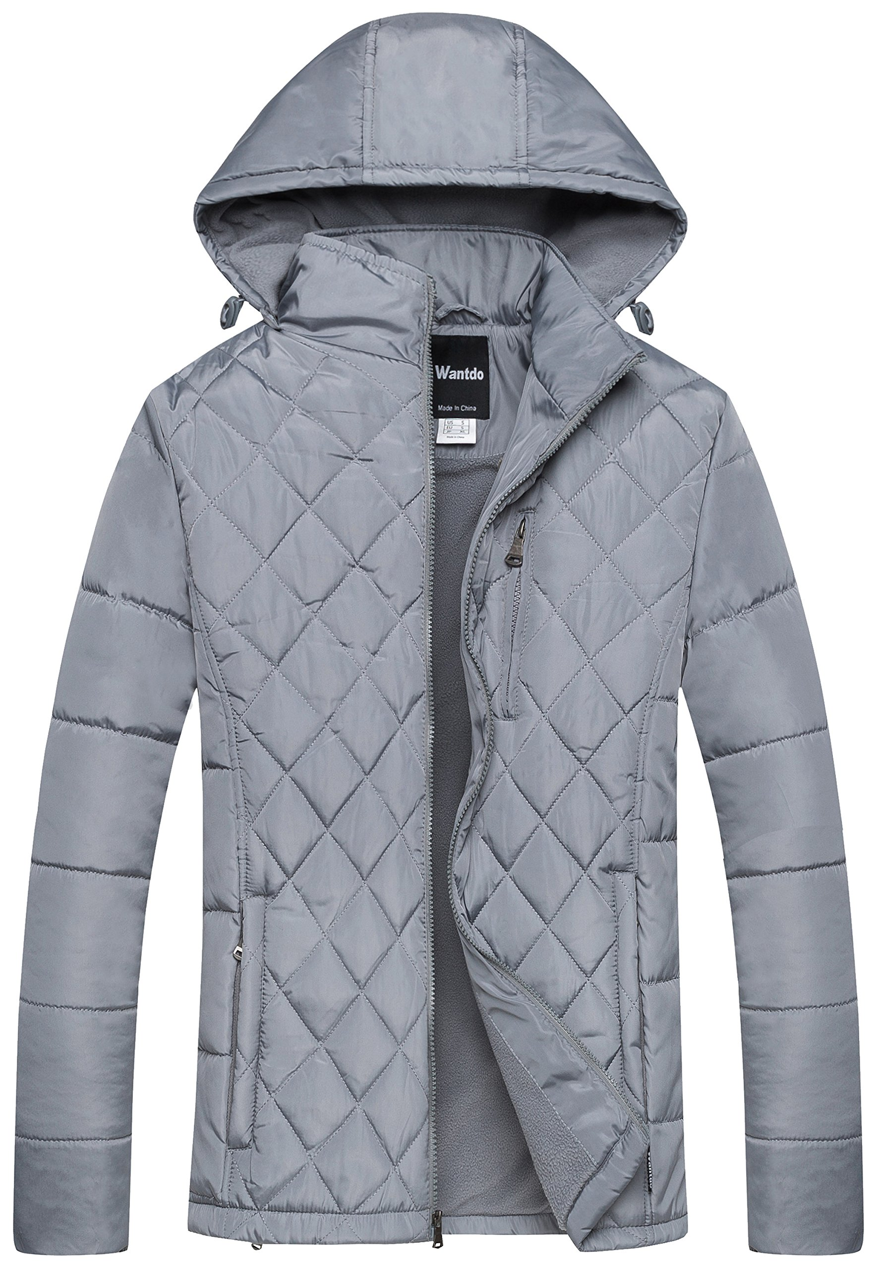 Wantdo Men's Hooded Puffer Coat Warm Windbreaker Outdoor Diamond Quilting Jacket Grey Large by Wantdo