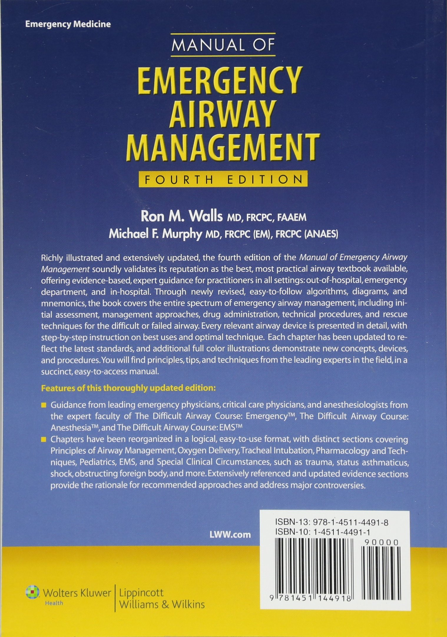 Manual of Emergency Airway Management: Amazon.co.uk: Ron Walls, Michael  Murphy: 9781451144918: Books