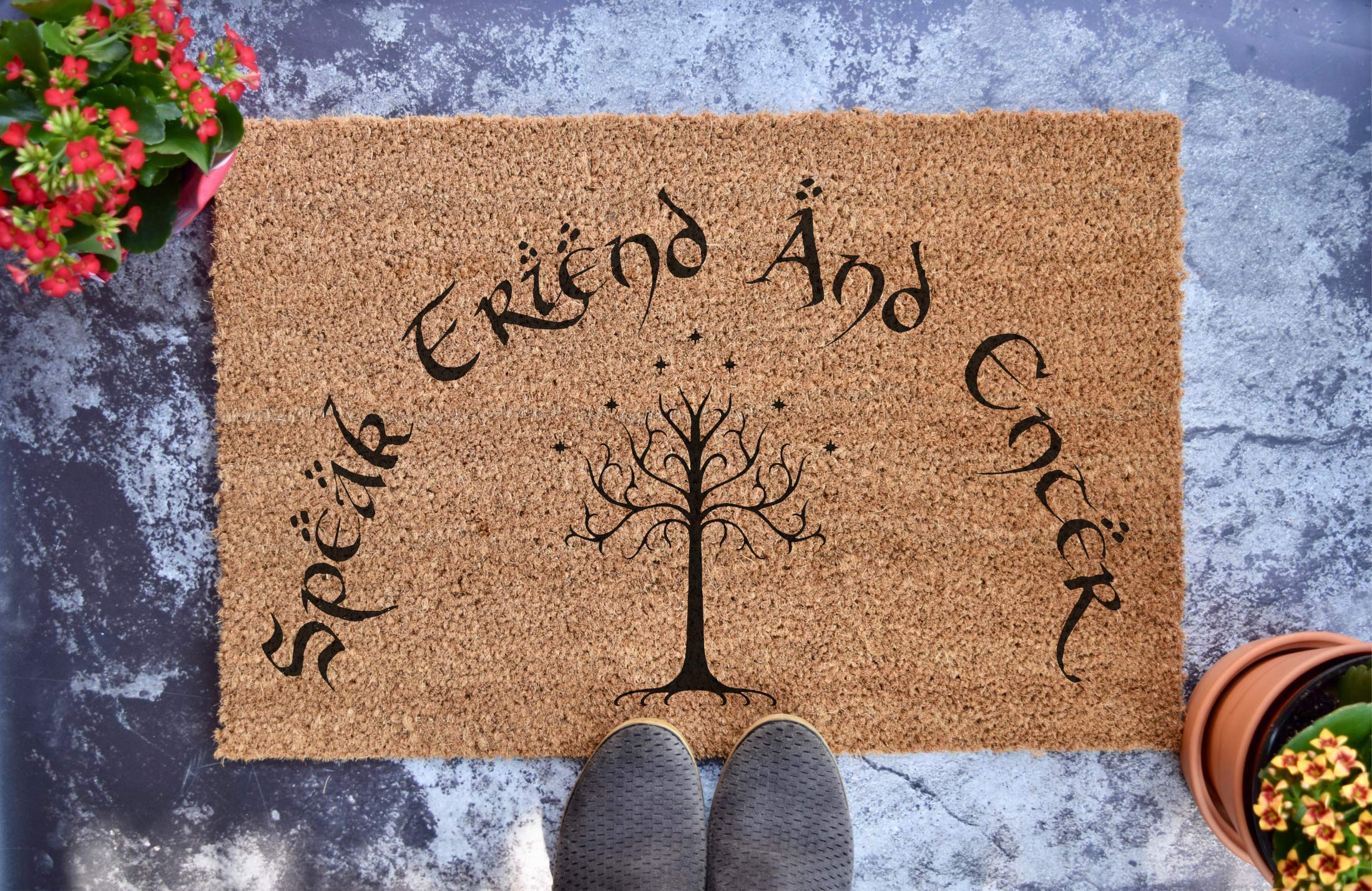 "Speak Friend And Enter - Lord of the Rings - The Hobbit - LOTR - Personalized Doormat - Wedding Gift - Housewarming Gift (24"" x 16"")"