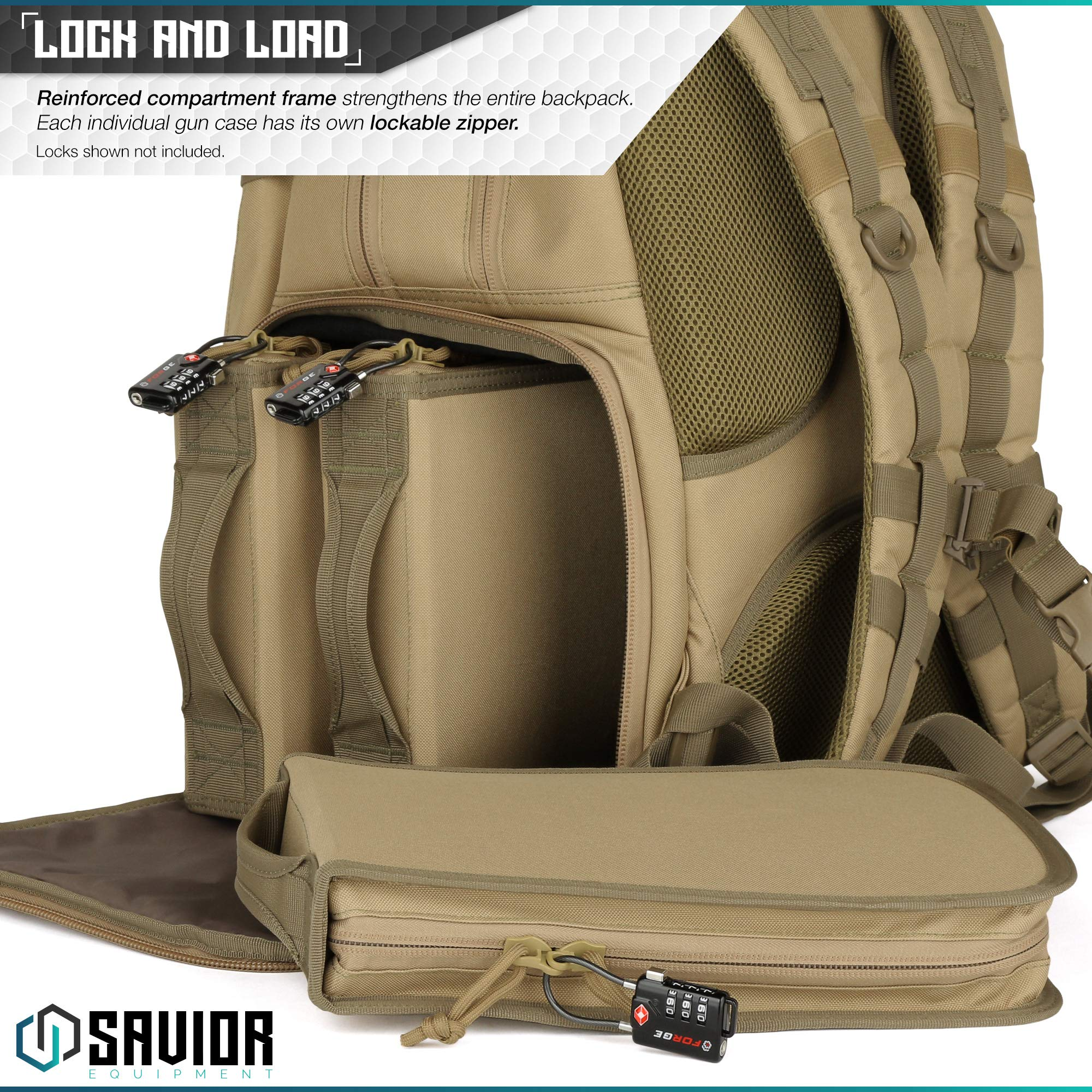 Savior Equipment Mobile Arsenal SEMA 27L Military Heavy-Duty Tactical Range Bag Backpack w/ 3 Separate Pistol Case - Laser-Cut Style MOLLE & Lockable Zippers, Raincover Included by Savior Equipment (Image #4)