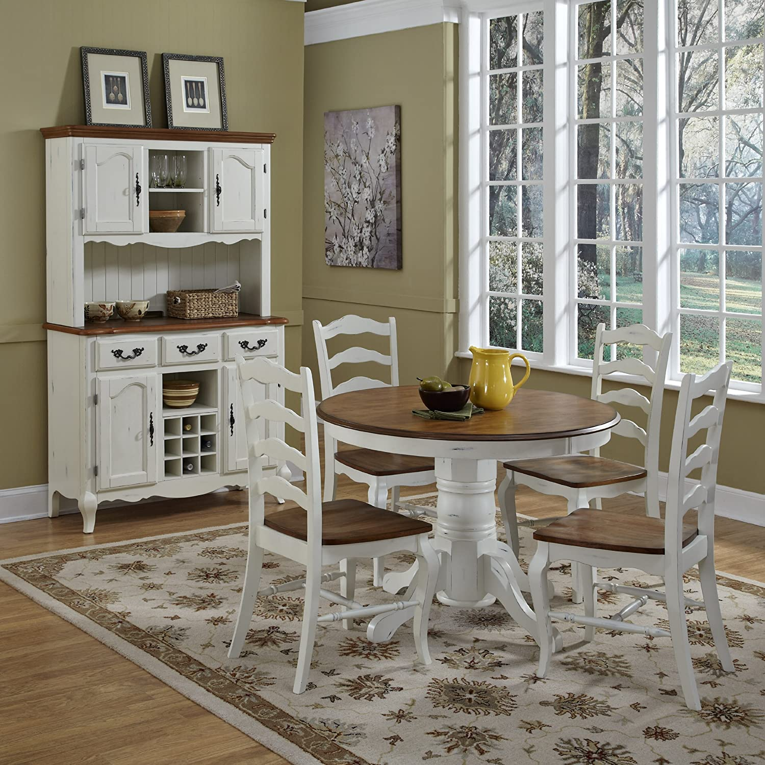 Amazon.com   Home Styles 5518 30 The French Countryside Pedestal Table, Oak  U0026 Rubbed White   Tables