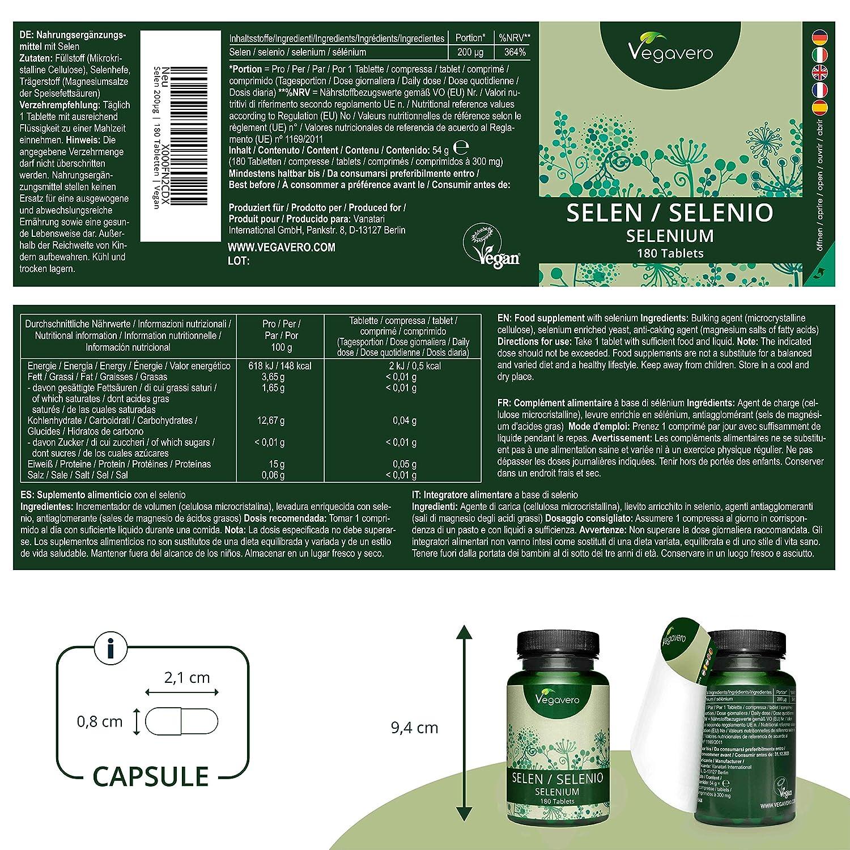 Selenio Vegavero® | ORIGEN VEGETAL: Levadura de Cerveza | Apto Para Veganos | 200 mcg | 180 Comprimidos | Antioxidante Natural + Sistema Inmunológico ...