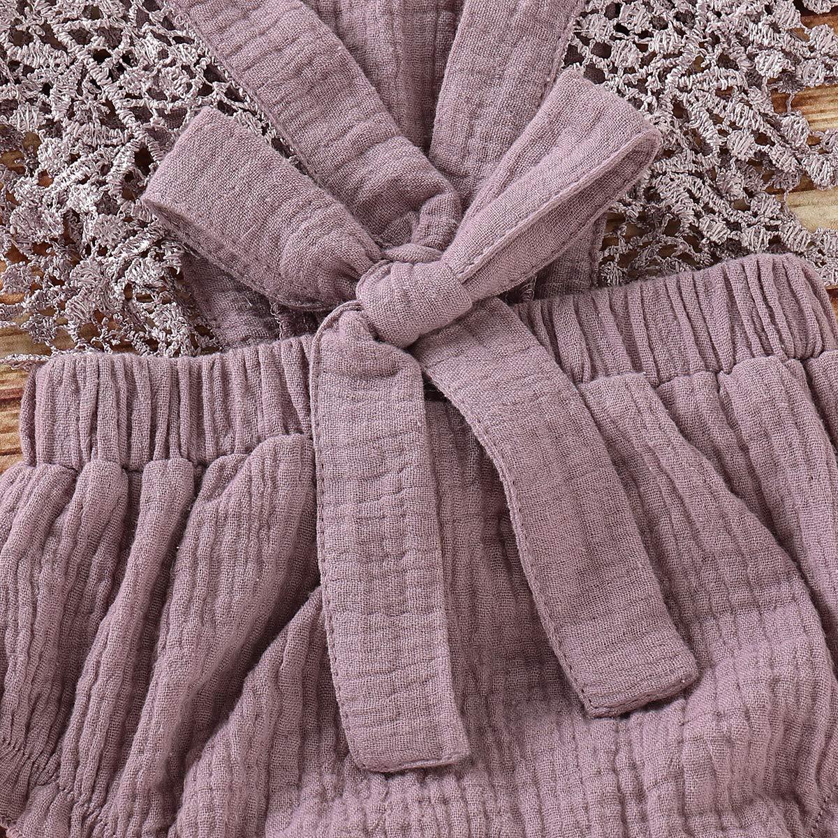 Neugeborenen Sommer /ärmellose Strampler Haokaini Lace Bowknot Bodysuits Sonnenanz/üge Baby R/üschen Overall Outfits