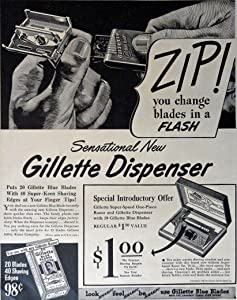 Gillette Dispenser, 40's Print Ad. B&W Illustration (zip! you change blades in a flash) Original Vintage 1948 Life Magazine Print Art