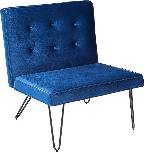Christopher Knight Home 300807 DuSoleil Velvet Mid Century Modern Armless Hair Pin Leg Chair Navy Blue