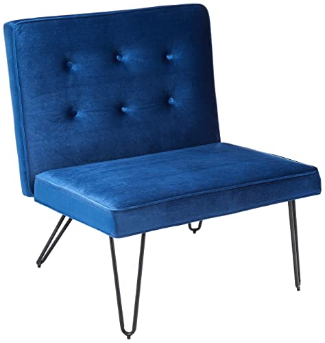 Christopher Knight Home 300807 DuSoleil Velvet Mid Century Modern Armless Hair Pin Leg Chair Navy Blue