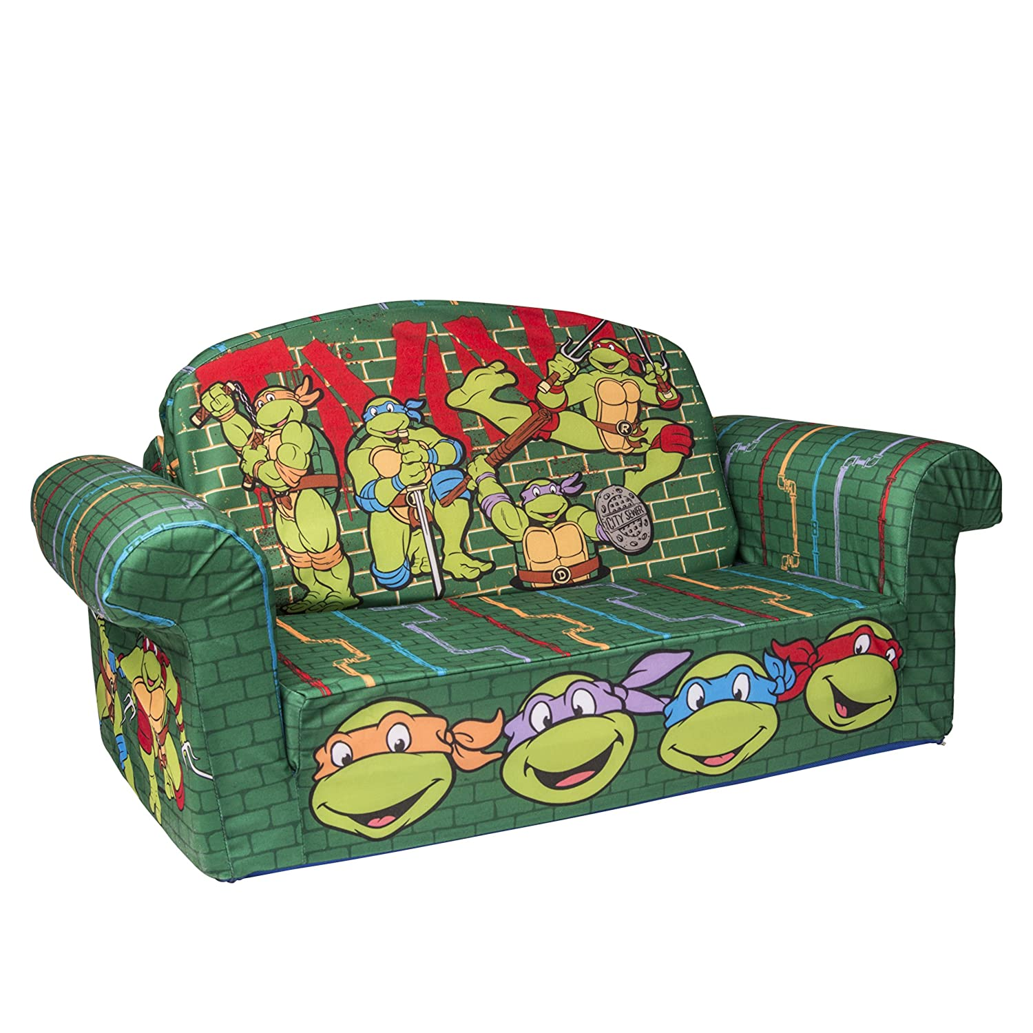 Amazon.com: Marshmallow Furniture Childrenu0027s 2 In 1 Flip Open Foam Sofa,  Nickelodeanu0027s Teenage Mutant Ninja Turtles, Retro, By Spin Master: Toys U0026  Games