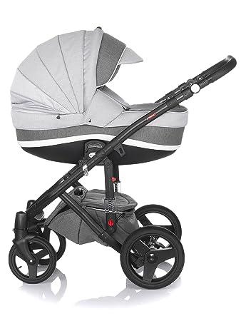 Kinderwagen Largo,3 in 1 Set Wanne Buggy Babyschale Autositz mit Zubeh/ör Black