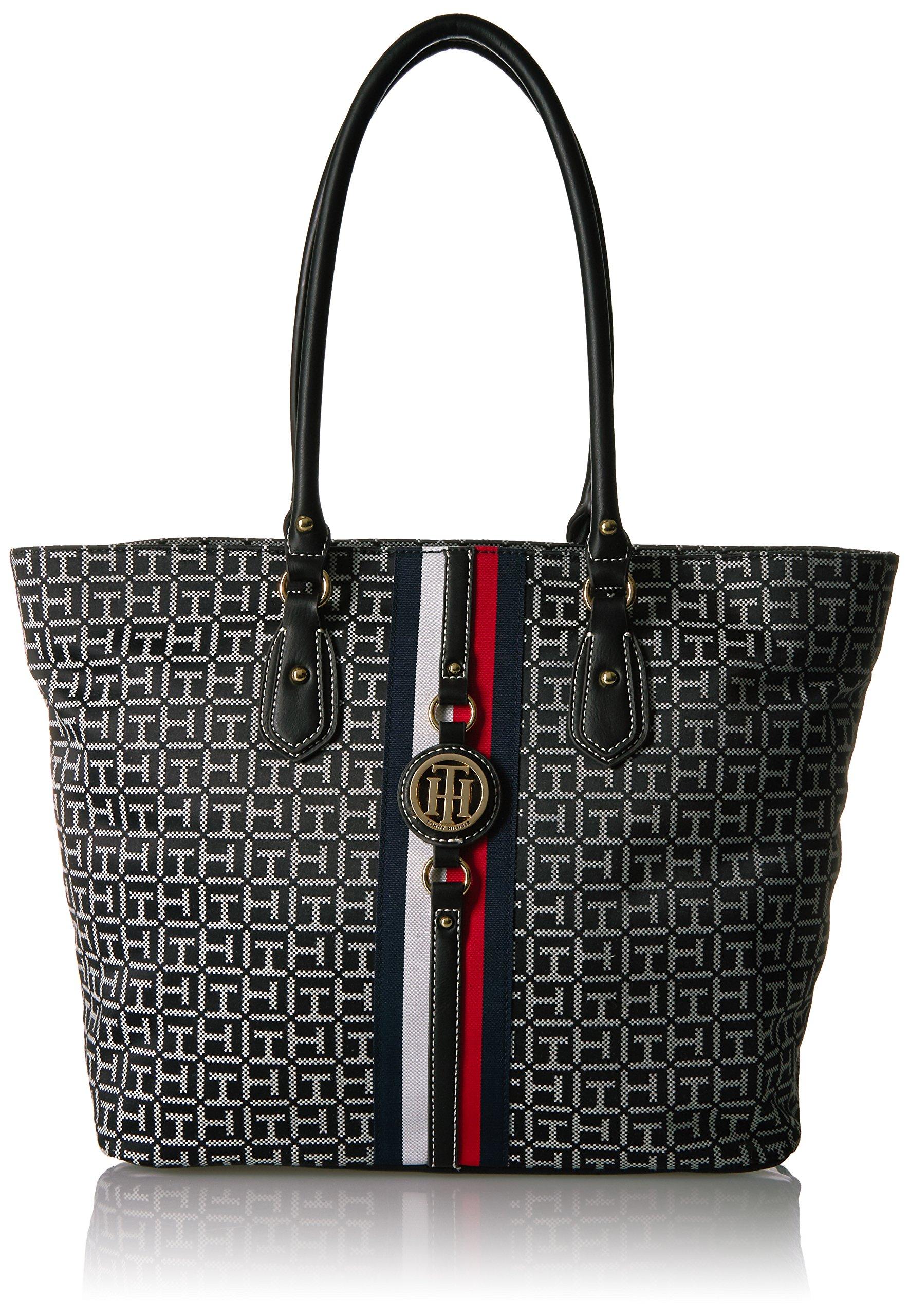 Tommy Hilfiger Tote Bag for Women Jaden, Black/White