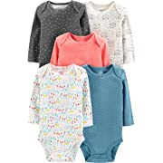 Simple Joys by Carter's Girls' 5-Pack Long-Sleeve Bodysuit, Dots/Owl/Print, 0-3 Months
