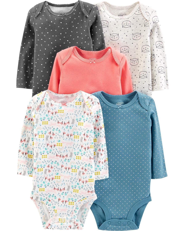 f1878d0b Amazon.com: Simple Joys by Carter's Baby Girls' 5-Pack Long-Sleeve Bodysuit:  Clothing