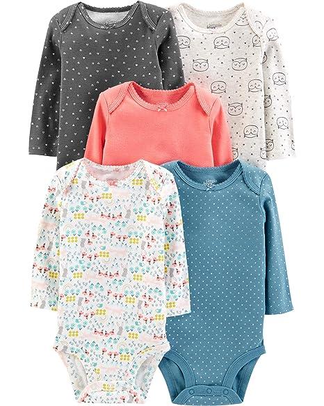 5eae9243cdf52 Simple Joys by Carter's Baby Girls' 5-Pack Long-Sleeve Bodysuit