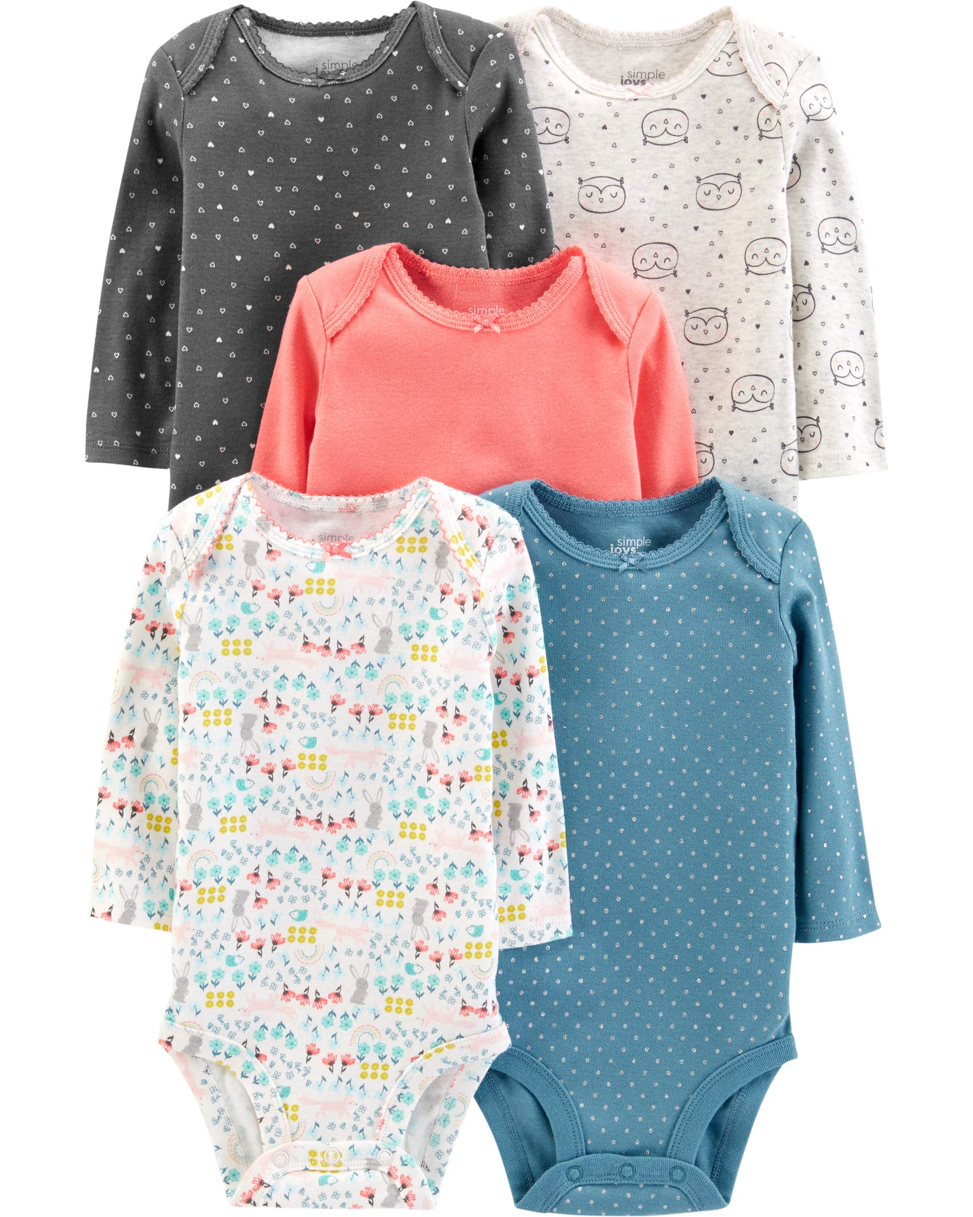 Simple Joys by Carter's Girls' 5-Pack Long-Sleeve Bodysuit, Dots/Owl/Print Preemie