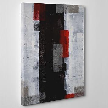 Peinture sur toile Moderne - Art Abstrait - Gris Rouge Noir ...