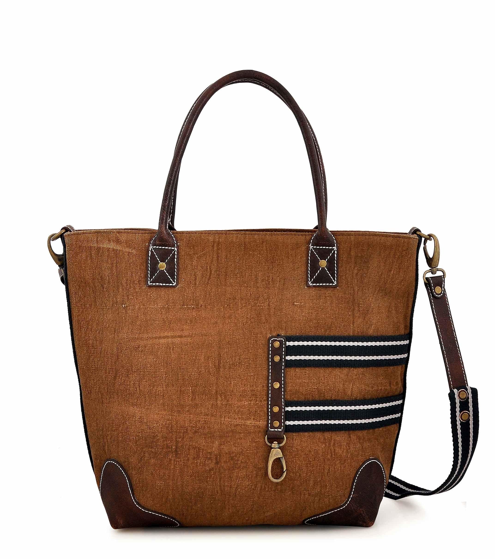 Canvas Tote bag for Women Girls Leather Trims Work Travel Shopper Backpack Cross body Hobo Messenger Shoulder Purse by Daphne (Blue Tape)