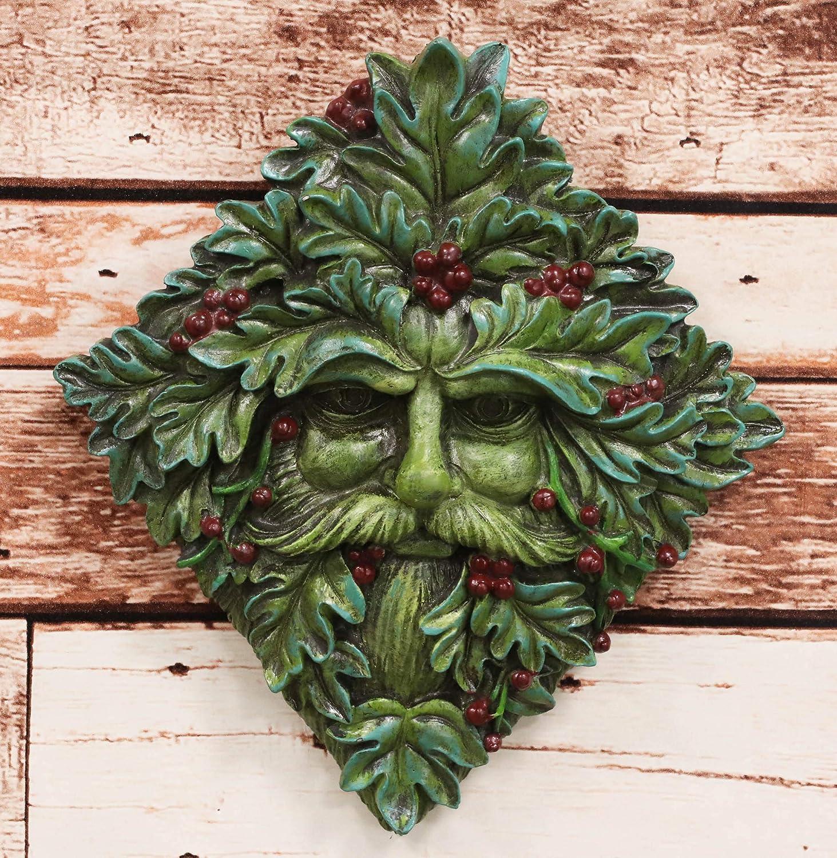 "Ebros Nature Spirit God Summer Berry Diamond Shaped Celtic Greenman Hanging Wall Sculpture Decor Plaque 9"" High Wiccan Tree Of Life Forest Shepherd Horned God Cernunnos Ent Mythical Fantasy Decorative"