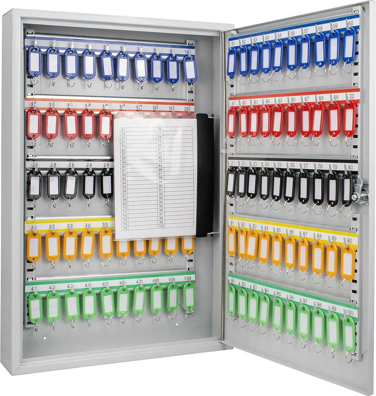 BARSKA CB12956 Key Lock 100 Position Adjustable Key Cabinet Lock Box Grey
