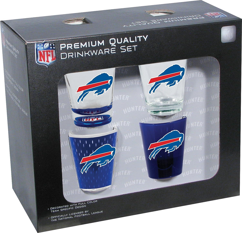 Hunter Manufacturing NFL Buffalo Bills Shot Glass Collector Set (4-Piece), 2-Ounce, Clear 716298826627