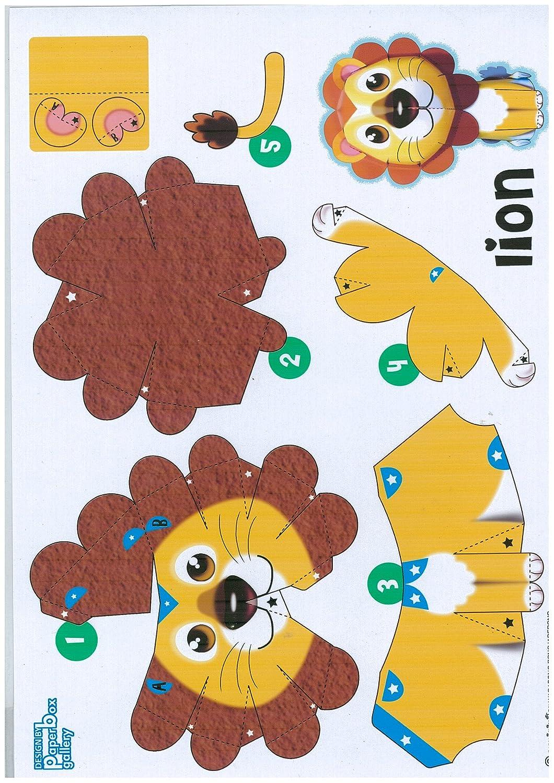Amazon Lion Chic High Quality Animal Paper Craft Mini Model Easy Fun