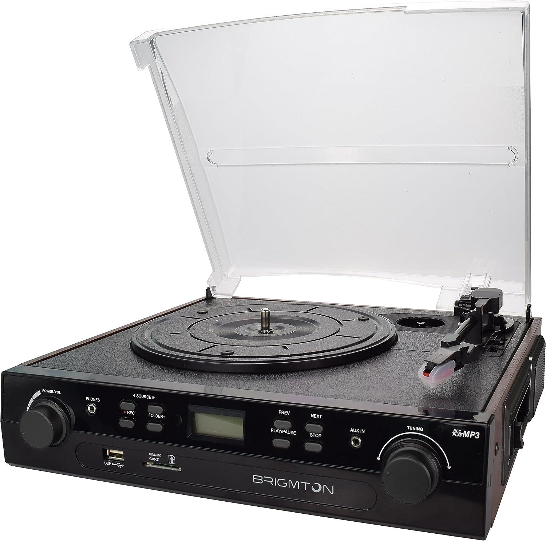 Brigmton BTC-406REC - Tocadiscos (Tocadiscos de tracción por correa, Negro, 45 RPM, 45,78 RPM, Giratorio, AM,FM)