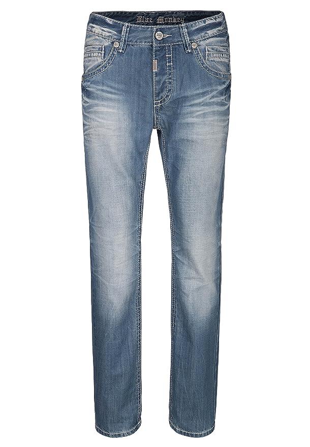 BLUE MONKEY Used-Wash Slim-Fit Jeans mit dicker Naht Freddy 4288 Herren  1001220: Amazon.de: Bekleidung