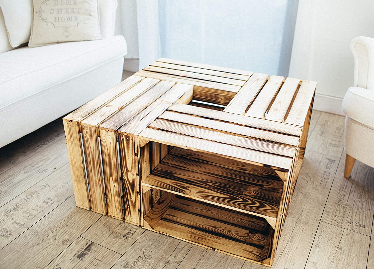 Wooden Crates Flamed 50 x 40 x 30cm with Shelves -for Dekoration- Shoe- or Wine-Rack or Storage Container (1 x long) 2er Set Längs