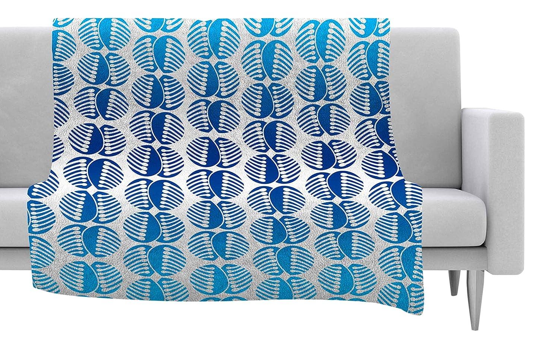80 X 60 80 by 60-Inch Kess InHouse Dan Sekanwagi Poddy Combs in Blue Pattern Fleece Throw Blanket