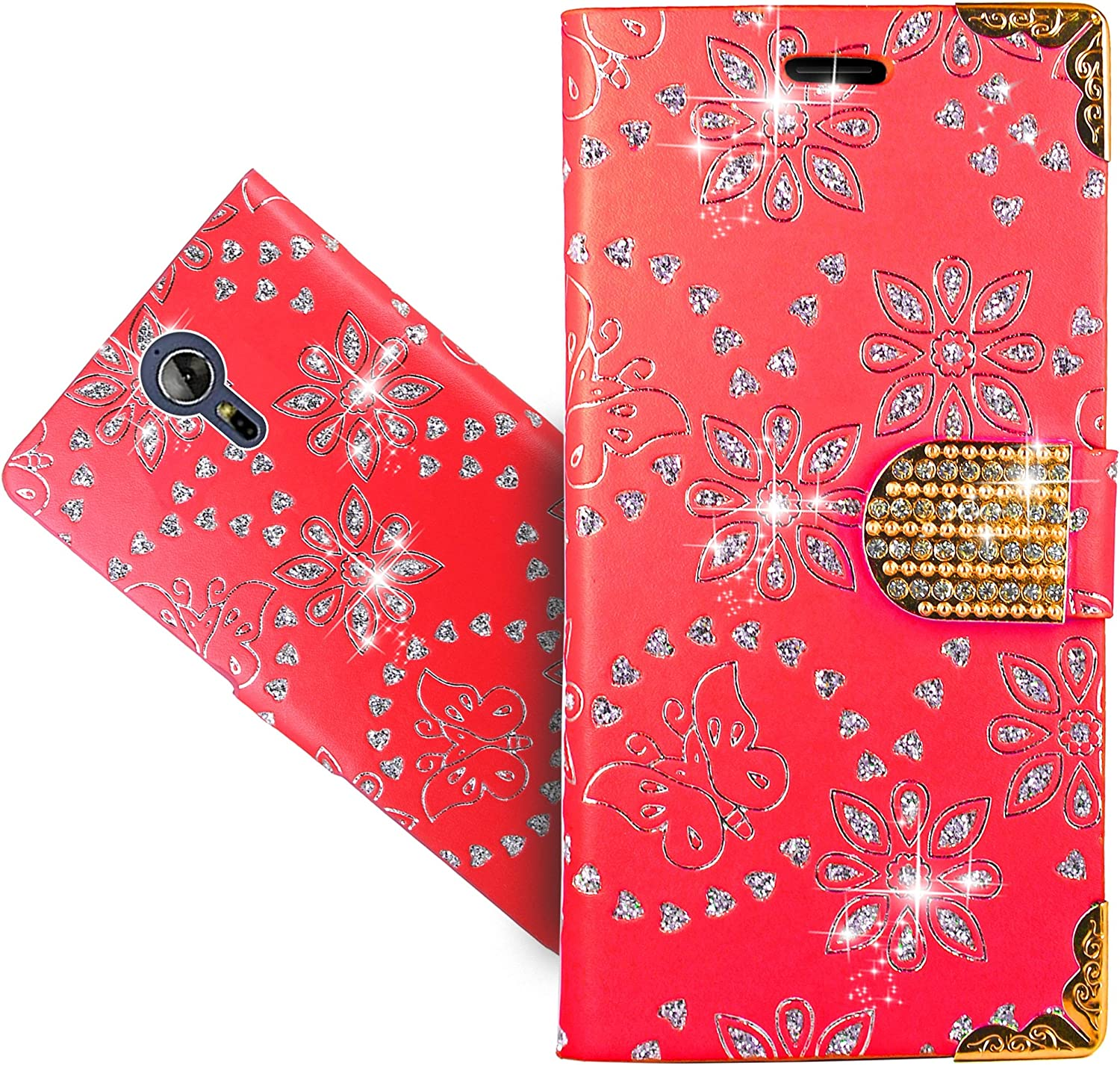 Acer Liquid Zest Plus Case, FoneExpert Bling Diamond Butterfly Flowers Leather Kickstand Flip Wallet Bag Case Cover For Acer Liquid Zest Plus