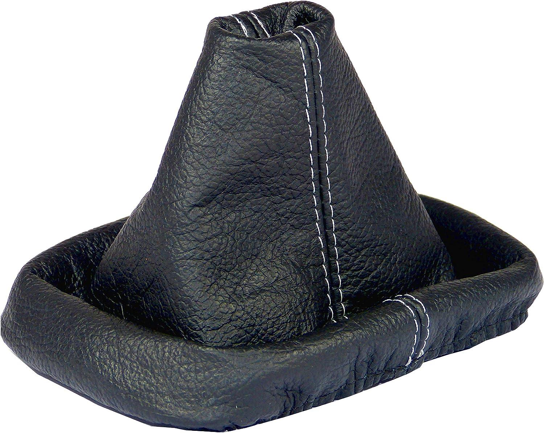 Intersale L&P A0036 Funda Saco Cuero Piel Genuina Negro con Costura Gris de Palanca de Cambios Cambio Velocidad velocidades Marchas Saco de conmutación