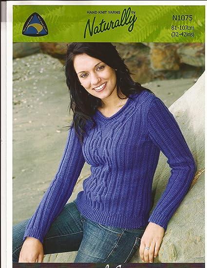 Amazon.com: Ribbed Sweater Naturally Hand Knit Yarns Knitting ...