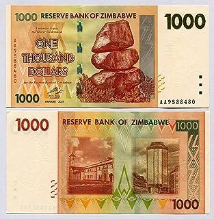 UNC, Banconota da 1000 dollari dello Zimbabwe, Del 2007, Banconote dal mondo, Inflazione RBZ