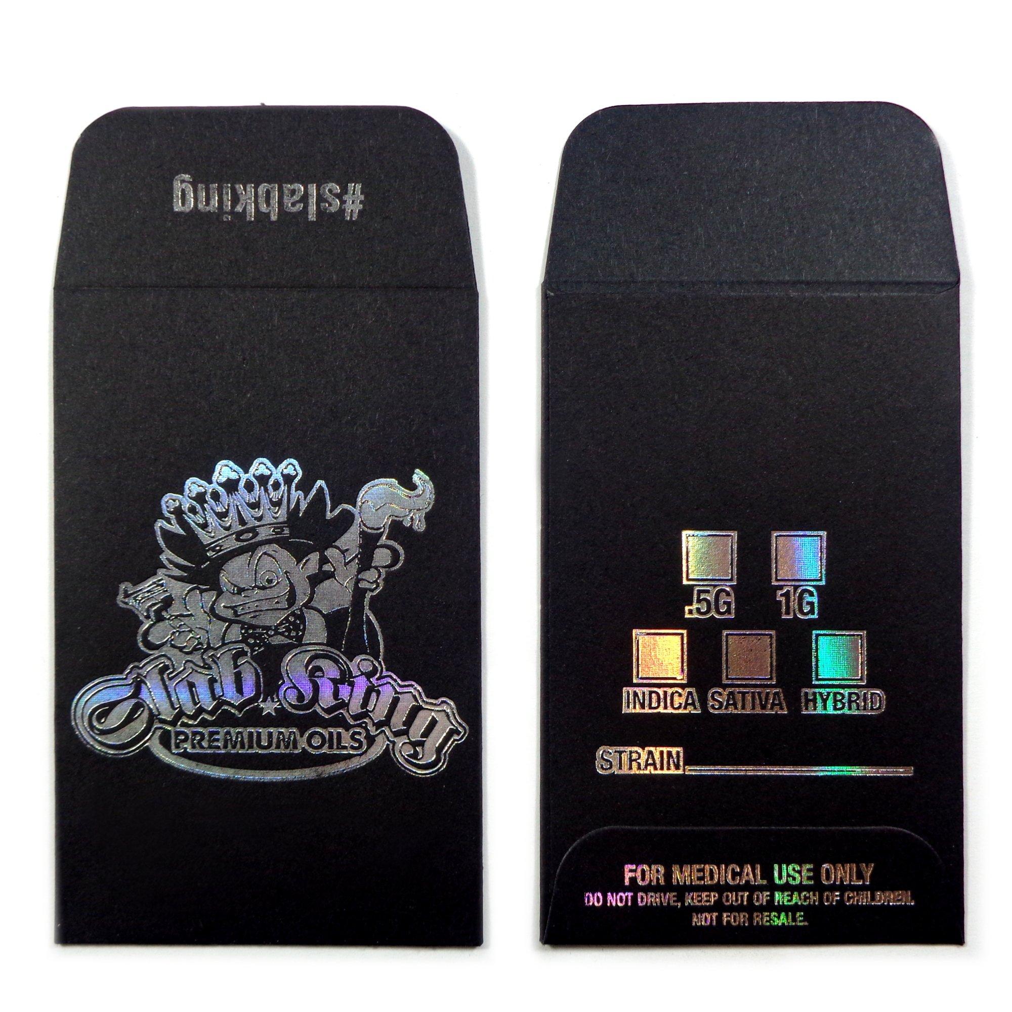 500 Original Black Silver SLAB KING Wax Shatter Labels Coin Holographic Foil Envelopes #099