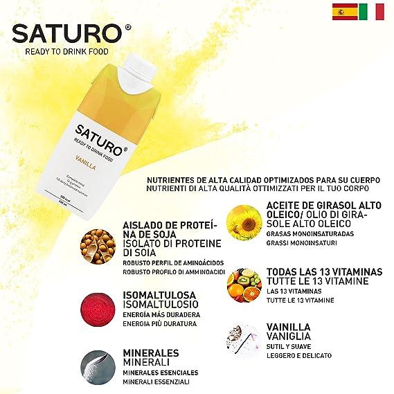 Saturo Vainilla - Batido sustitutivo de comida con Proteínas, Vitaminas y Minerales | Control de Calorías con Nutrición Sana - Pack de 16 x 330 ml: ...